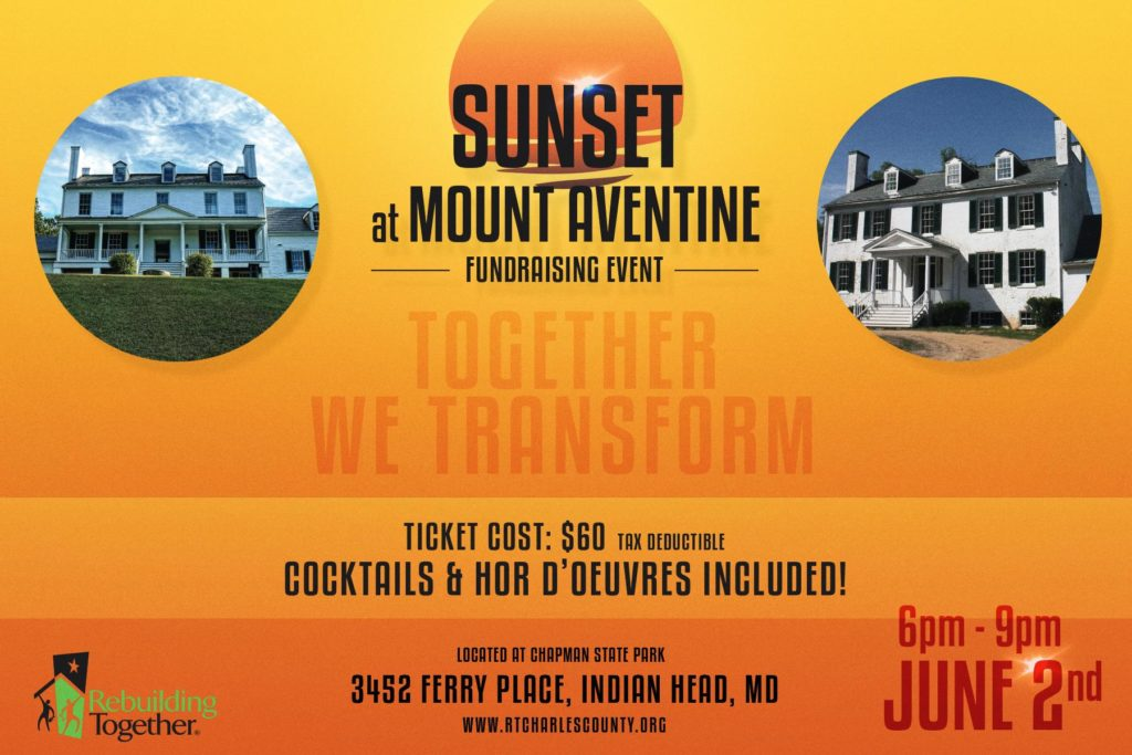 Sunset at Mount Aventine fundraiser for Rebuilding Together Charles County.